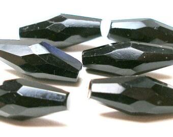 des années 1800 verre noir boutons, broche victorienne, ensemble de 6 assorties.