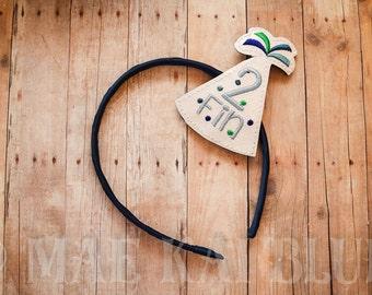 Party Hat - Birthday - Personalized Monogram - Headband Slider - Hair Jewelry - Cover - Bookband
