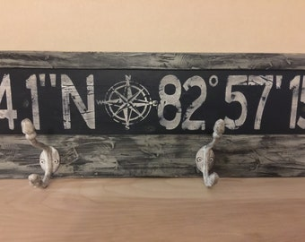 Personalized latitude longitude coat rack sign/custom longitude latitude coat rack/family GPS coordinates sign/distressed coordinate sign