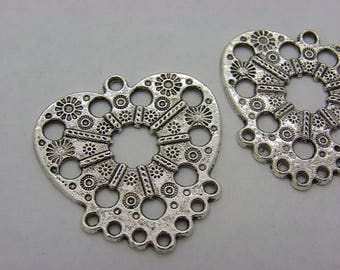 2 candlesticks in silver plated brass heart or charm 37 mm x 35 mm