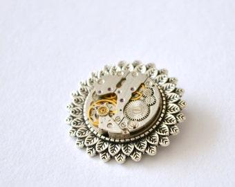 Brooch, Steampunk, Brooches, Unique brooch, SilverBrooch, Clockwork, Vintage, Steampunk gift, Victorian Steampunk Brooch, Gift, Watch Brooch