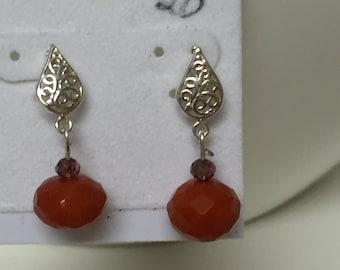 Sterling Silver drop earrings with orange chalcedony