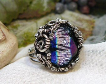 Dichroic Glass Ring ~ Wire Wrapped Dichroic Glass Ring ~ Glass Cabochon Ring ~ Sterling Silver Cabochon Ring ~ Unique Ring ~ Size 7 1/2