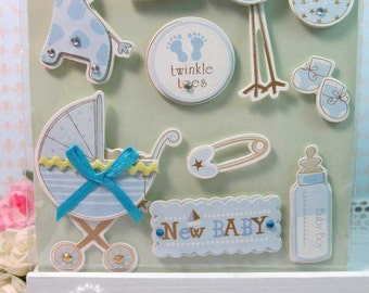 Dimensional Stickers - New Baby Boy 3D stickers - Scrapbooking, Card-making