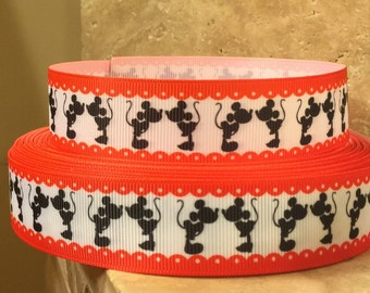 """5 YDS Kissing Mickey Mouse Minnie Mouse Ribbon (1"""") **REMNANT**"""