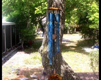 MORNING SONG--Copper Wind Chime with blue patina