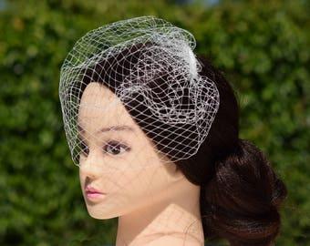 Birdcage Veil, Wedding Head Piece, Vintage Style Veil, Bridal Hair Piece, Blusher veil, Ivory Black Pink White , Bridal Headdress, Bird Cage