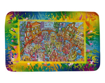 Extra large gay pride bathmat. Canal Parade Amsterdam. Iamsterdam. Prints from original acrylic painting. Surprise your boy / girl friend!