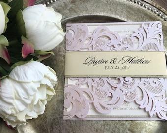 Laser cut wedding invitations, blush laser cut Invitation, blush wedding invitations, Glitter invitations, laser cut pocket, blush and gold