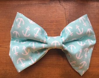 Baby Blue Anchor Bow Tie
