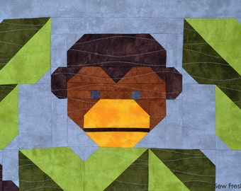 Monkey Quilt Block Pattern, PDF, Instant Download, modern patchwork, jungle, African, animal, cute