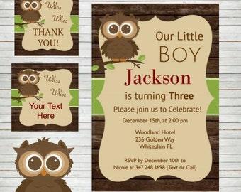 Owl Birthday Invitation ~ Instant Download Woodland Invitation Owl Invitation & Tags AUTOFILL PDF Editable Pdf DIY 4x6 Gender Neutral A11