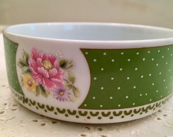 Vintage Nichinan Bowl Dish - Japan Exclusive - Green Polkadot - Flowers - China Bowl