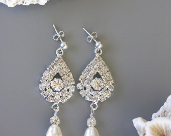 RHINESTONE  WEDDING  EARRINGS with Pearl Drops, Large Bridal Earrings, Cubic Zirconia, Special Occasion, Pearl Tear Drops White or Cream
