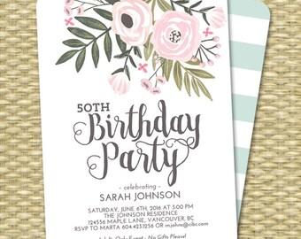Adult Birthday Invitation Hand Painted Floral Party Invitation Milestone Birthday 50th Birthday Invite Pink Blush Mint Aqua