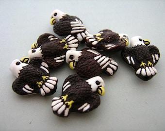 10 Tiny Eagle Beads - Ceramic Beads - Peruvian Beads -  CB88