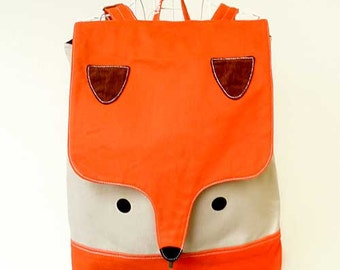 Fox Vegan Backpack Laptop BackPack Fox Bag Diaper Backpack Travel Backpack Macbook Padded Laptop Bag Women Teen Backpack ORANGE BEIGE Color