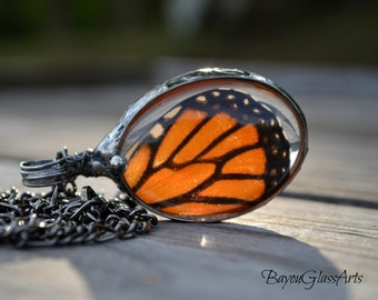 Real Monarch Butterfly Pendant, Stained Glass Jewelry, Real Butterfly Wing Necklace, Butterfly Jewelry, Pendant Butterfly Wing (2294)