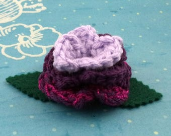 Crocheted Rose Hair Clip - Lavender, Purple, and Sparkly Hot Pink (SWG-HC-MPTS02)