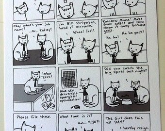 Cat Office - Limited Edition Hey Pais Print
