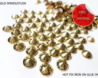 60 Gold Spikes Rivets Studs for Iron On, Hot Fix, or Glue On  8 mm