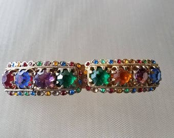 Vintage Natty Creations Jeweled Double Clip Scarf Brooch Pin 3 1/2""