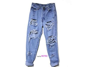 ALLE Größen - Vintage zerstört hoch taillierte Grunge-Boyfriend-Jeans