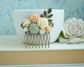 Peach Rustic Wedding Comb. Ivory Rose, Grey Green, Peach, Leaf, Vintage Collage Comb, Flower Hair Comb. Bridal Bridesmaid Gift. Fall Rustic