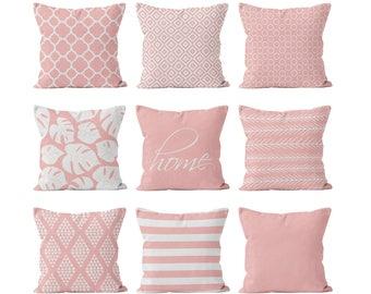 Blush Pink Pillow Cover Mix and Match, Rose Quartz Light Pink Feminine Teen Nursery Decor, Decorative Throw Pillow Cover Create Your Set