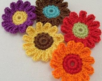 Crochet Flower Appliqués in Assorted Colors