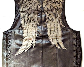 Season Six Daryl Dixon Leather Angel Wing Vest - Screen Accurate