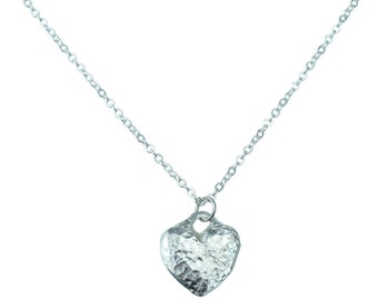 Tin Anniversary Gifts Tin Heart Pendant - Made From 100% Pure Tin