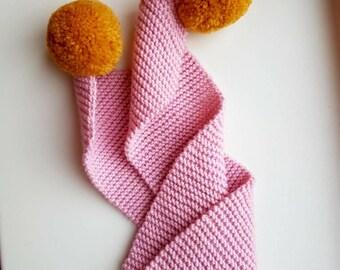 Handmade merino wool scarf with pom poms, baby scarf