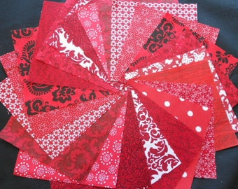 Red Quilt Fabric Squares - Quilt Charm Squares - SEW FUN QUILTS Time Saver Quilt Kit -