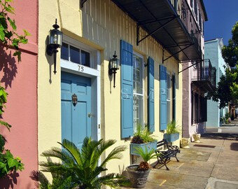 75 East Bay Street, Rainbow Row, Charleston, SC, Charleston photography, home decor, wall art, rainbow row print, by Joe Parskey