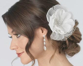 Bridal Flower Hair Clip, Bridal Hair Accessories, Ivory Bridal Floral Clip, Floral Wedding Hair Clip, Wedding Comb, Hair Clip ~TC-2219-IV