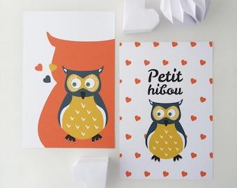 """Set of four illustrations for children """"Little OWL"""""""