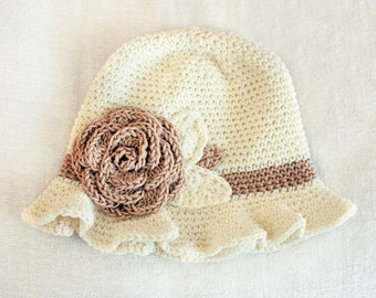 6 to 12m Crochet Sun Hat Baby Hat in Cream and Tan - Crochet Rose Flower Hat Cloche Hat Baby Girl Baby Flapper Girl Photo Prop Baby Gift