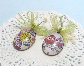 Birds and cages, cabochons, costume jewelry Silver earrings