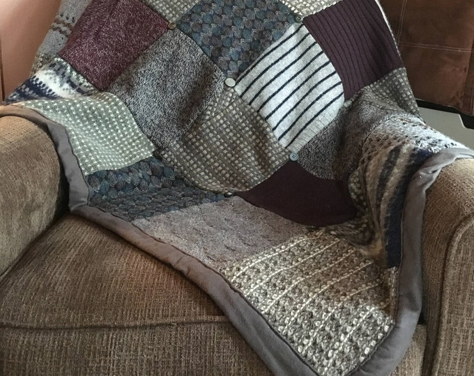"""My """"Soft Textures"""" Wool Sweater Quilt — I can make one similar for you!"""