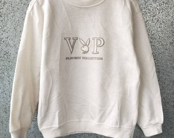 Vintage Playboy Collections sweater knitwear / Playboy Bunny sweatshirt spell out big logo embroidery