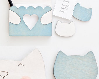 Cat Magnets, Blue Kitchen Decor, To Do List Fridge Magnets, Housewarming Gifts for New Mom, Wooden Kitchen Magnet, Blue Refrigerator Magnets