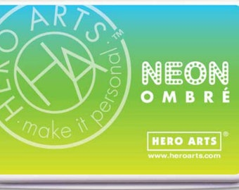 Hero Arts Ombre Neon Chartreuse to Blue Ink AF329
