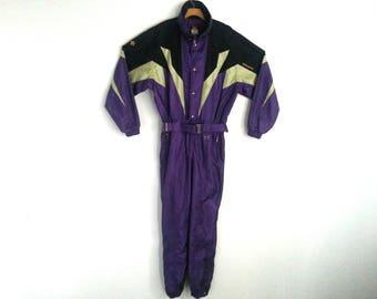 Rad Vintage 90s Ski Suit Color Block Purple Descente Extra Large