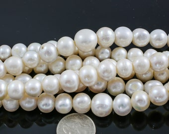 12-15mm Large Hole Freshwater Pearl, 8 Inch Strand