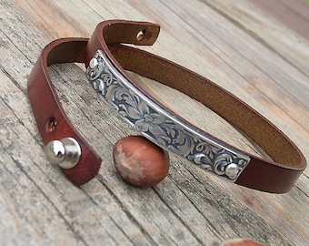 Women's leather bracelet, Wrap around leather bracelet, Embossed floral leather bracelet, Boho floral bracelet