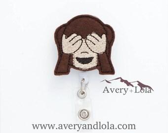See No Evil Badge Reel, Monkey Badge Reel, Monkey ID Holder, ID Badge Holder, Nurse Gift, Teacher Gift