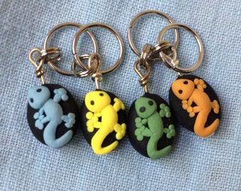 Gecko Polymer Clay Stitch Markers set of 4 Miniature Sculpted Animal Knit, Crochet Accessories