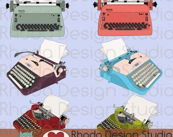 Vintage Typewriters with Paper Digital Clip Art Retro Corona, Royal, Voss