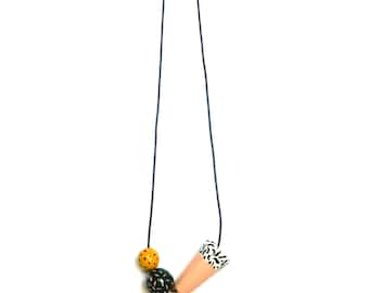 Pita - Patterned Wooden Bead Necklace